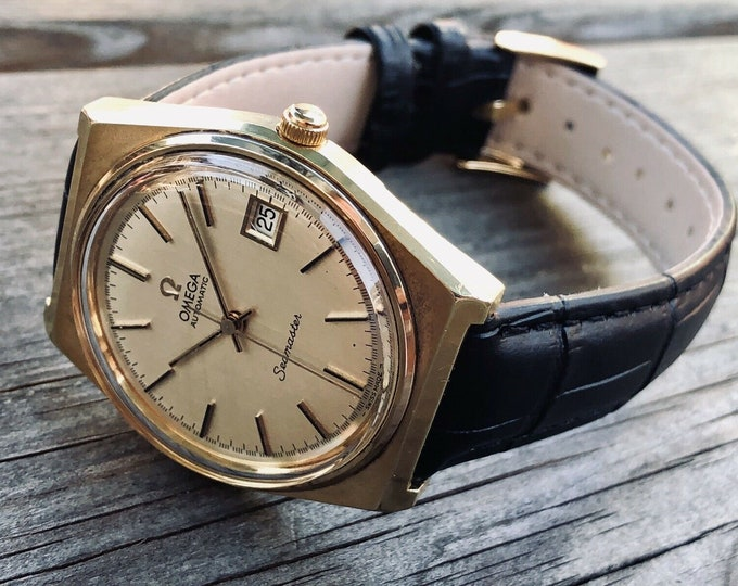 Omega Seamaster 1970 - 1979 vintage Mechanical Automatic Cal 1012 mens Gold Plated second hand watch + Red Omega box