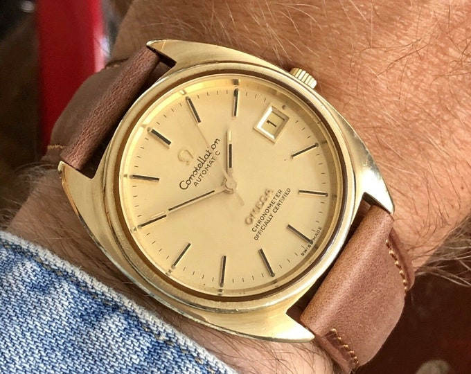 Omega Constellation Automatic Date vintage mens 1973 dress gold used watch + Box