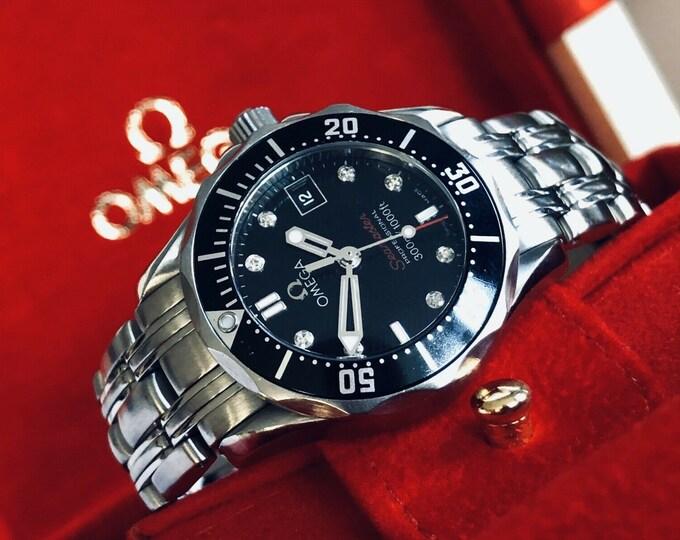 Omega Seamaster Professional 300m IF Black Diamond Dial 300m Quartz Lady Full Set watch + Box