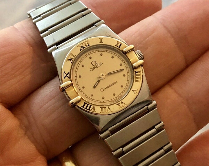 Omega women Quartz Two Tone Gold Steel bracelet semi vintage Constellation watch