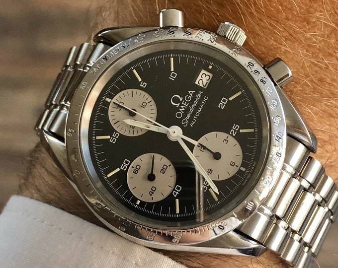 "Omega Speedmaster ""Reverse Panda"" Black Dial Men's Automatic Cal 1155 Reduced 38mm watch + Box"