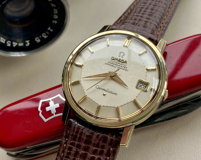 Omega Constellation Gold Pie Pan Gold Capped Vintage Mens Automatic 1964 Leather Serviced July 2021 watch
