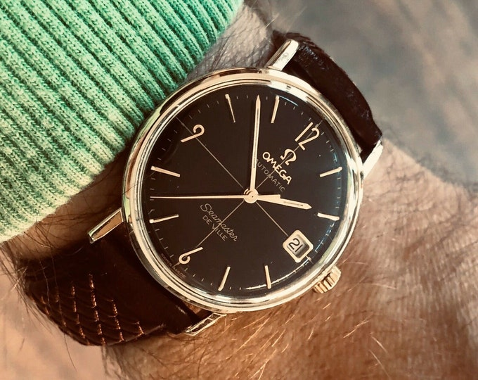Omega Seamaster De Ville 14K Gold Automatic Crosshair black dial vintage mens 1962 Crazy Rich Asians watch