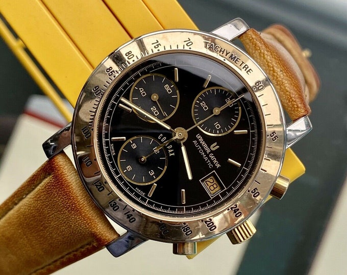 Universal Geneve Compax Chronograph Automatic Black Dial Gold Steel 39mm Watch + Service Card from July 2020