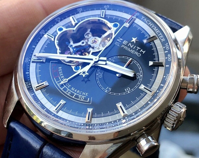 Zenith Mens Used 42mm El Primero Chronomaster 50 Hour Power Reserve Blue Serviced Sep 2020 watch
