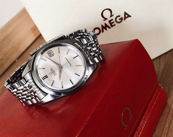 Omega Seamaster Superb condition 1960 to 1969 vintage original crosshair dial rice bracelet men's date dsipaly steel CAL 562 + box