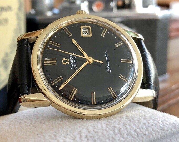 Omega Automatic Seamaster Mens Vintage Black dial 1966 steel dress watch + Box
