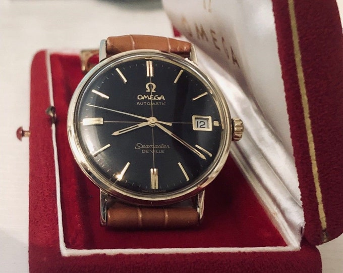 Omega Seamaster De Ville vintage watch Mechanical Automatic cal 560 14K Gold black dial crosshair Date 1960s used second hand + Mint Box