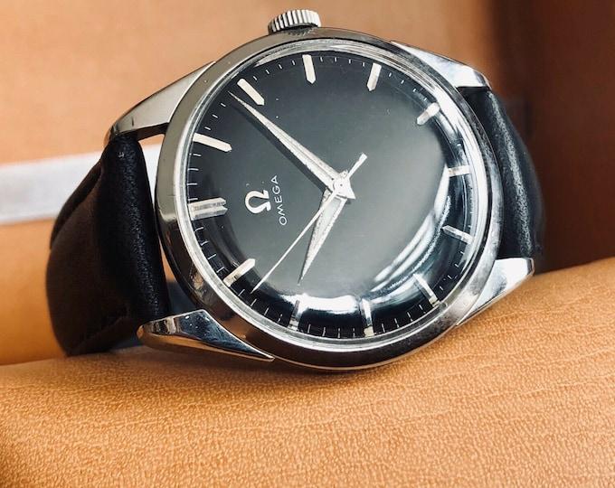 Omega vintage Steel Ryan Gosling 1956 Black Dial Crosshair second hand gents La La Land Mechanical self winding watch + box