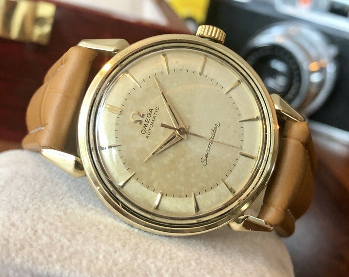 Omega Seamaster Gold Capped Mens Vintage 1956 Automatic Calibre 471 watch + Box + Serviced December 2020