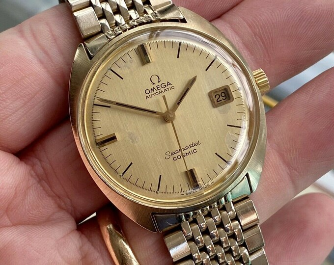 Omega Mens Seamaster Cosmic Automatic Vintage Gold Plated 1960s antique Caliber 565 watch + Box