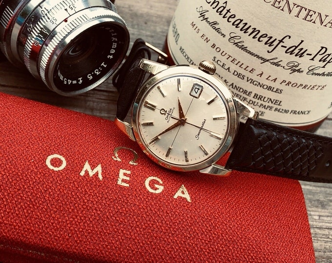 Omega Mens Seamaster 1960s Gold Capped Crosshair dial second hand vintage Watch CAL 565 Automatic 1960s luxury new leather band strap + Box