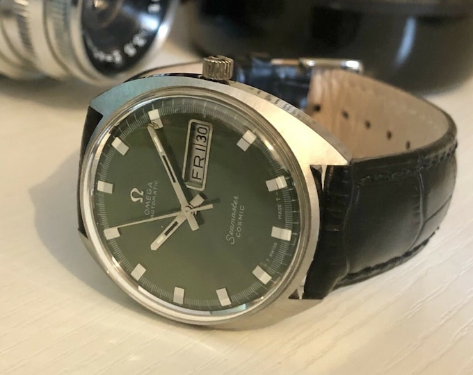Omega Mens 1960 - 1969 Seamaster Cosmic Green Dial Face vintage watch Day Date Automatic Mechanical gents clock + box