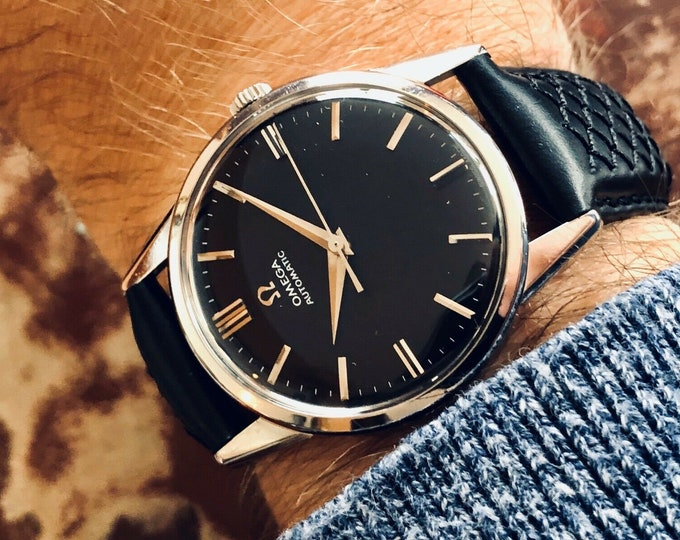 Omega vintage Steel Ryan Gosling 1962 Black Dial Crosshair second hand gents La La Land Automatic self winding watch + box