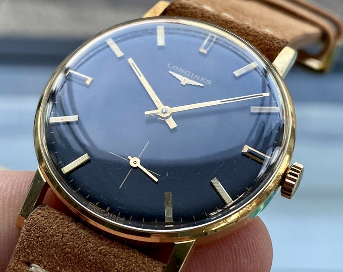 Longines Vintage 18K solid gold Black Dial Hand Winding Sub Seconds 2020 watch