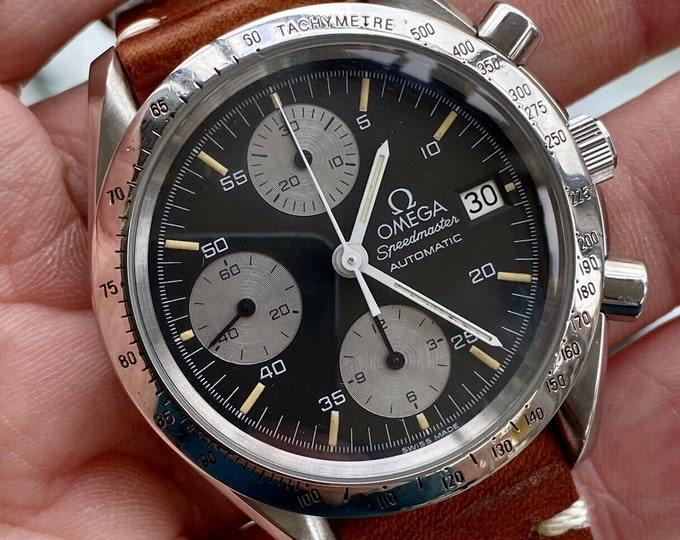 Omega Speedmaster Black Reverse Panda Dial Men's reduced Automatic 1990s Racing Leather 38mm Chronograph watch + Box