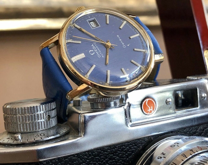 Omega Geneve Mens Vintage Blue navy dial 1975 gold plated Automatic used second hand watch + Box