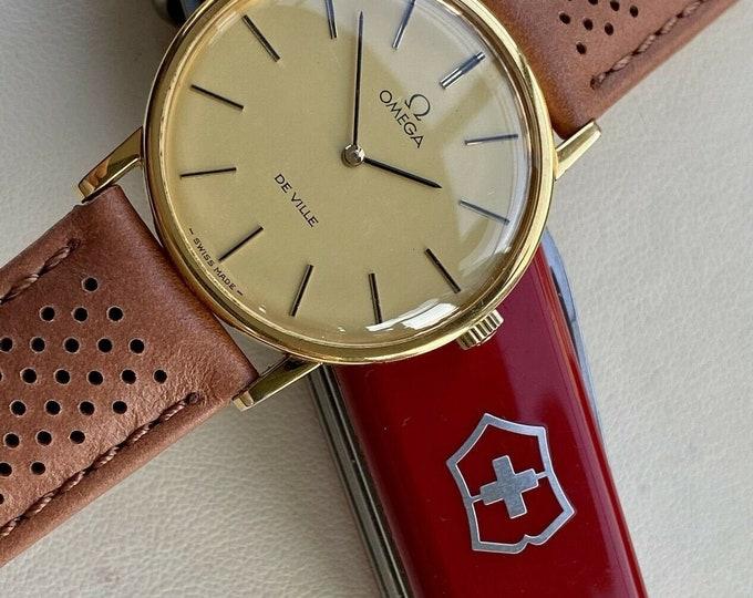 Omega Used Mechanical De Ville Gold Plated Vintage Mens 1978 serviced June 2021 watch