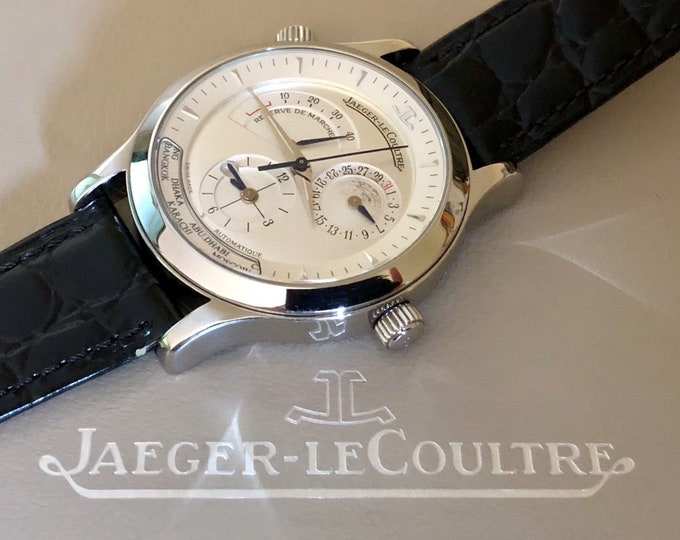 Jaeger Lecoultre Master Geographic Steel Automatic 142.8.92 Power Reserve 42hrs Mens watch 36 Jewels Box 24 City Time 38mm