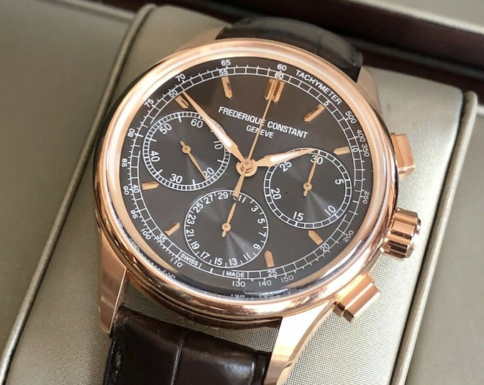 Frederique Constant Gents Rose Gold Plated Flyback Chronograph Watch FC-760V4H4 Full Set Papers + Box