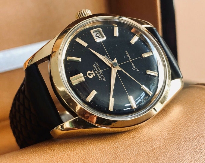 Omega Automatic Seamaster 1961 Mens Vintage Black Face Dial watch + New Box