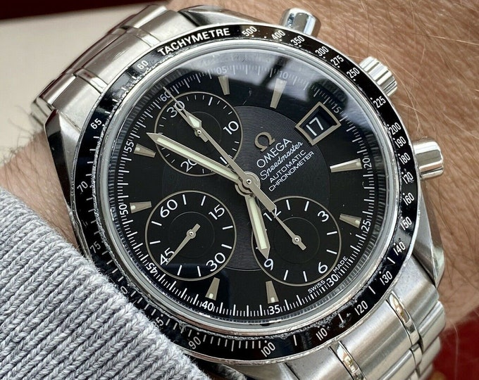 Omega Speedmaster Black Dial Men's Steel Automatic Chronometer box papers watch serviced April 2021 watch card / papers + Box