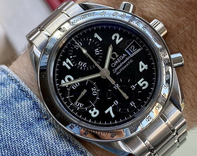 Omega Speedmaster Steel 351352 Black Dial Mens 38mm Automatic box papers / card watch