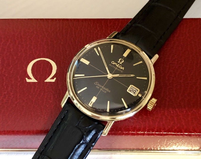 Omega Seamaster De Ville vintage watch cal 562 automatic 14K gold Date gold 1960s used second hand wristwatch + Box