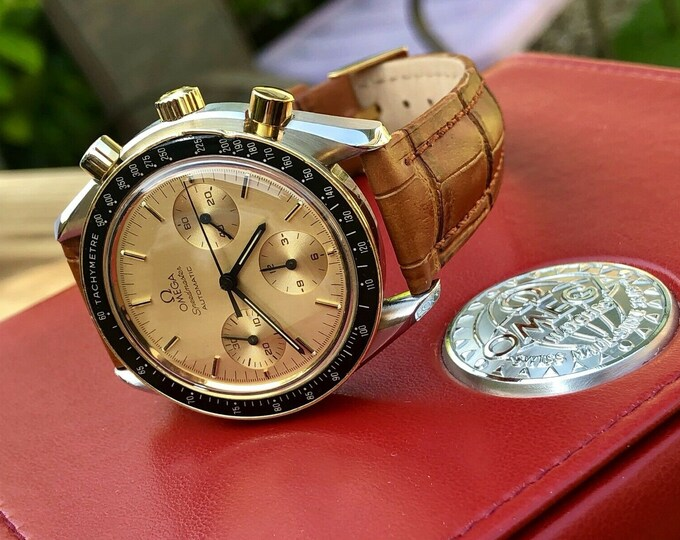 Omega Speedmaster 1988 Champagne Dial Men's brown Automatic Cal 1143 Vintage 175.0032 18K solid gold bezel & steel watch + wood Omega Box
