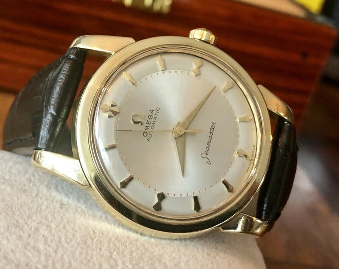 Omega Automatic Seamaster 1950s Mens Vintage Gold Original Dial calibre 501 watch + New Box