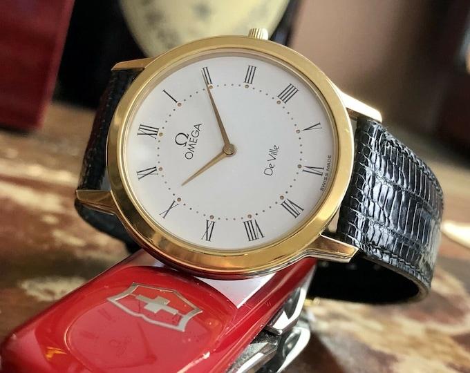 Omega De Ville Prestige Steel Black Leather dial Mens Quartz Battery Gold watch