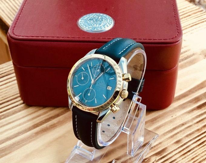 Omega 1991 RARE Speedmaster Calibre 1155 Blue Grey Dial 345.0043 Men's chronograph reduced Automatic watch