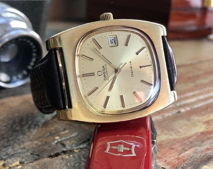Omega Geneve Automatic 36m x 44mm Jumbo Square TV dial Gold Plated Mens Vintage 1970s watch