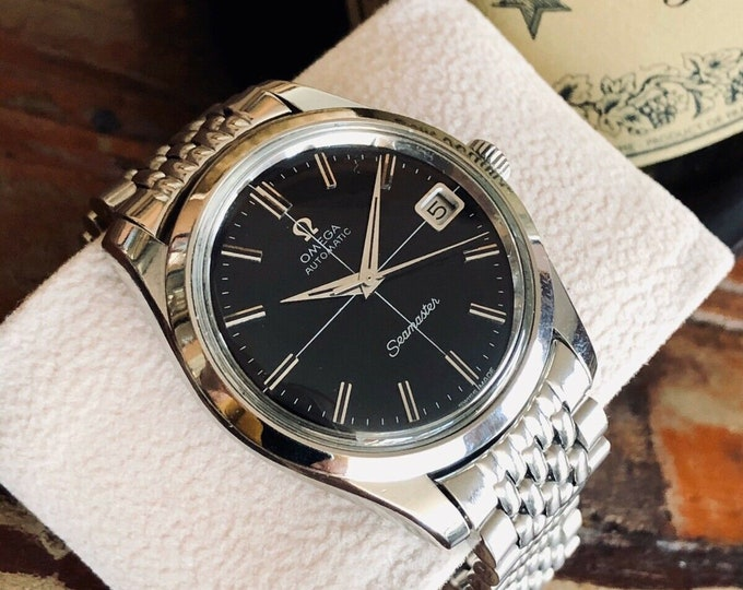 Omega Seamaster Stainless Steel Beads Rice Bracelet Black dial Mens Vintage 1969 Automatic watch + New Box - Serviced March 2020