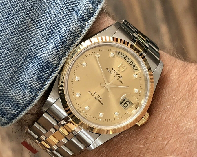 Tudor 76213 Rolex Prince Date Day 10 IF Diamond Dial Mens 35mm Gold Steel Full Set new two tone watch + Box + Papers / Cards
