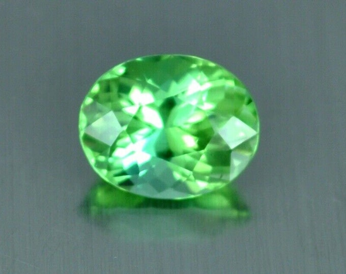 5.10Ct FLAWLESS Apple Neon Green Oval Tourmaline Gemstone 6.5mm x 6mm x5mm