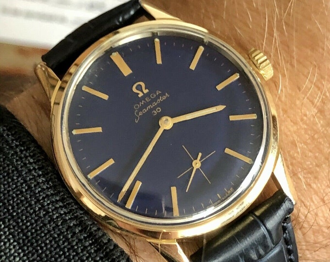 Omega Seamaster 30 Gold Blue Dial Men Mechanical vintage 1963 serviced watch + Box