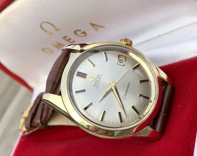 Omega Mens Seamaster 1960s Stainless second hand vintage Watch CAL 565 Automatic 1960s new leather band strap + Box