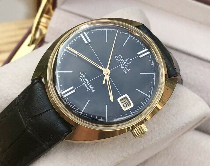 Omega Mens Seamaster Cosmic Black Dial crosshair vintage Date Automatic watch  + box