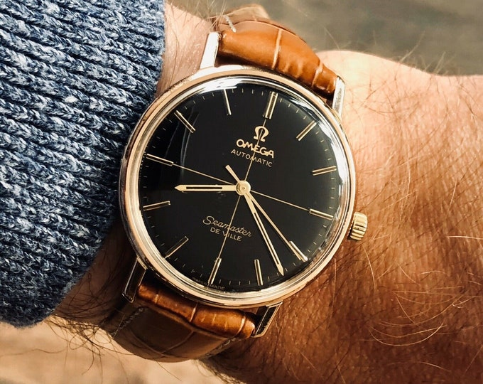 Omega Seamaster De Ville Automatic Black Dial Mens Rose Gold Serviced serviced march 2020 Caliber 552 watch