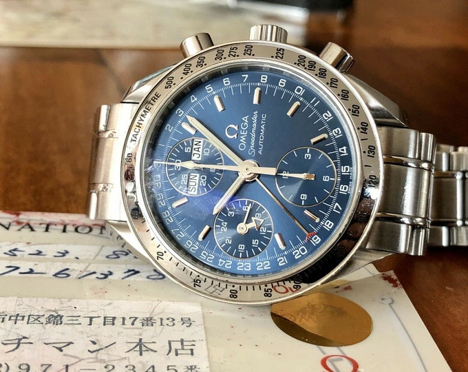 Omega Speedmaster Navy Triple Date Blue Dial Men's Automatic Cal 1151 watch + Box