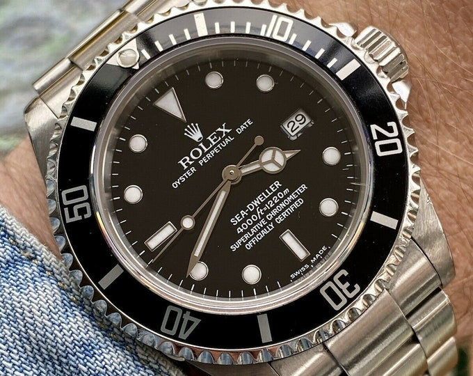 Rolex 16600 Sea Dweller Submariner 4000 Mens Automatic Watch  Papers Box Full Set