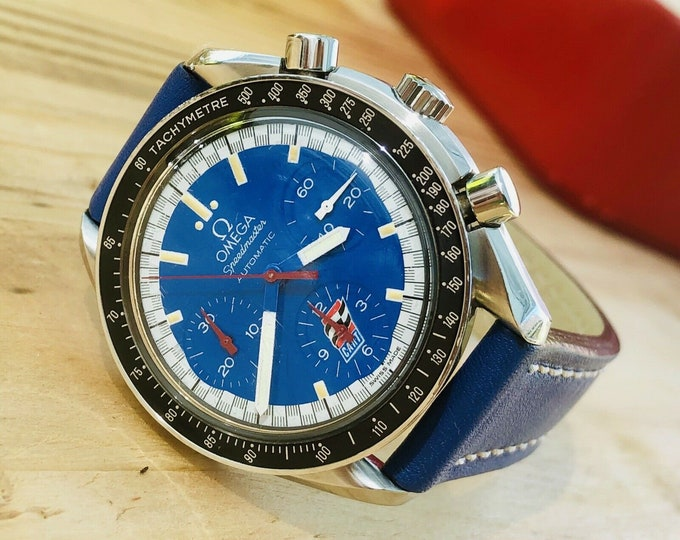 Omega Speedmaster Blue Dial Men's Cart Michael Schumacher Paul Newman Michael Andretti Automatic watch + Box