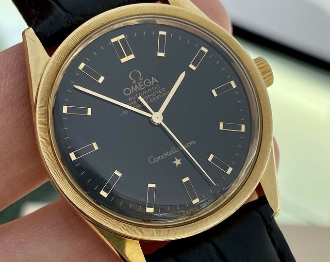 Omega Constellation Automatic 18K 750 Solid Gold Black Dial Face Leather Mens Vintage used 1968 dress 34mm serviced watch