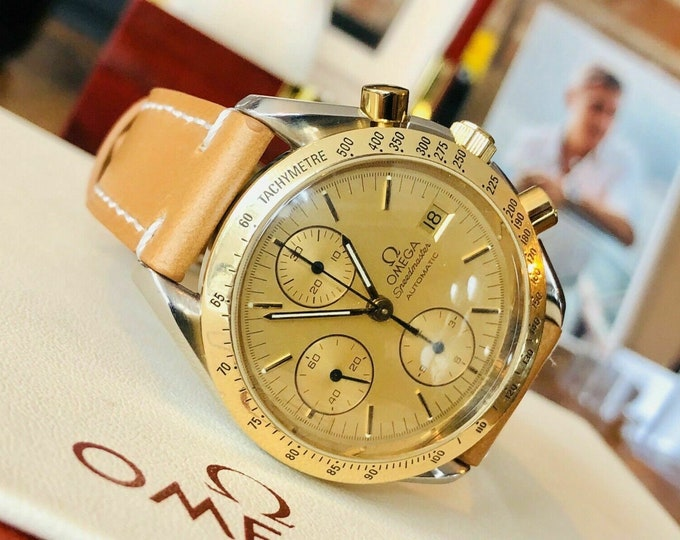 Omega Speedmaster 18K Yellow Gold & Steel Champagne Dial Men's Automatic Calibre 1155 watch + Box