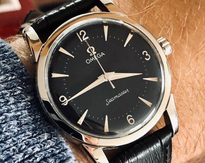 Omega 1956 vintage Seamaster Black Dial Face Rare Caliber 420 Men watch + Box