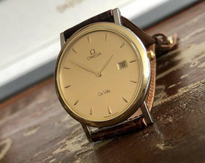 Omega semi vintage 1993 Mens Full Set watch De Ville Gold Plated mens watch Box