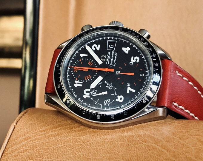 Omega Speedmaster Racing Red Leather Black Dial Mens 38mm Automatic watch + New Box