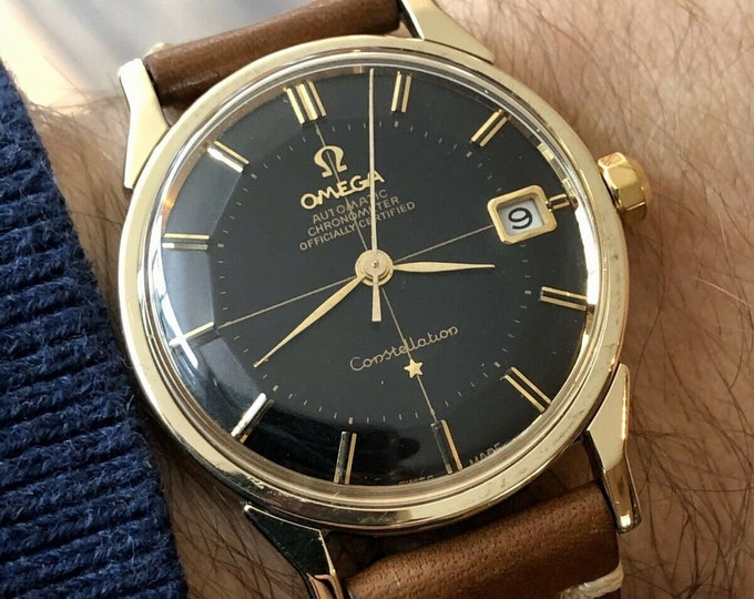Omega Constellation Pie Pan Automatic black dial face gold & steel vintage mens watch 1966 watch