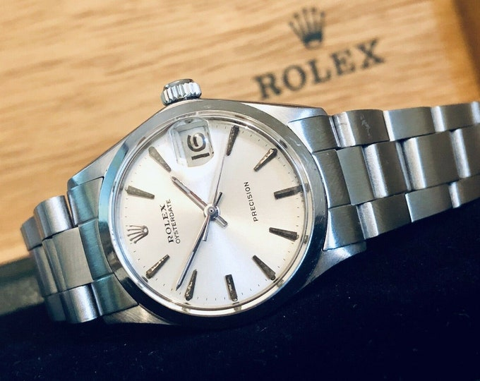 Rolex Oysterdate Precision Ref 6466 1960 - 1969 Mechanical 1210 midsize 31mm vintage watch + Box